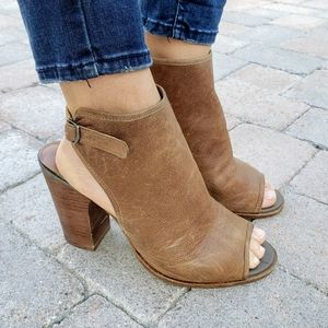 Lucky Brand Lisza Open Toe Brown Leather Booties